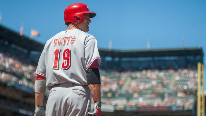 Cincinnati Reds first baseman Joey Votto looks on during a game against the San Francisco Giants at AT&T Park in San Francisco on June 29, 2014. Votto missed 100 games las season due to injury.