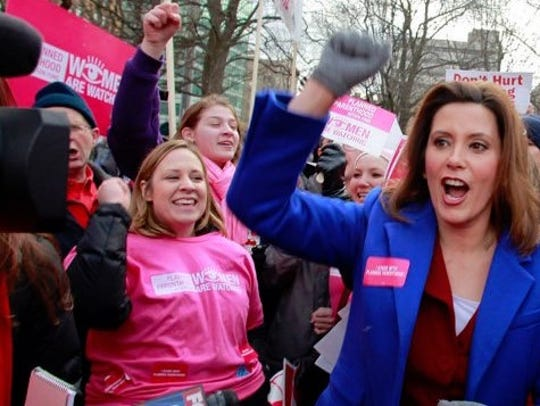 Gretchen Whitmer at 2012 Right to Work protest at Michigan