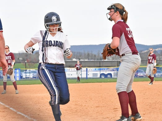 Chambersburg's Harley Barber scores during a Mid Penn