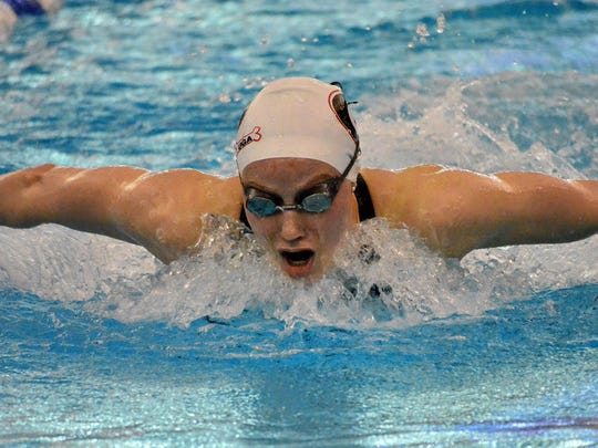 Georgia's Hali Flickinger swims the butterfly during last season's NCAA championships in March. In her senior season, Flickinger, a Spring Grove graduate, holds the top time in NCAA Division I in the 200 freestyle and the 200 butterfly.