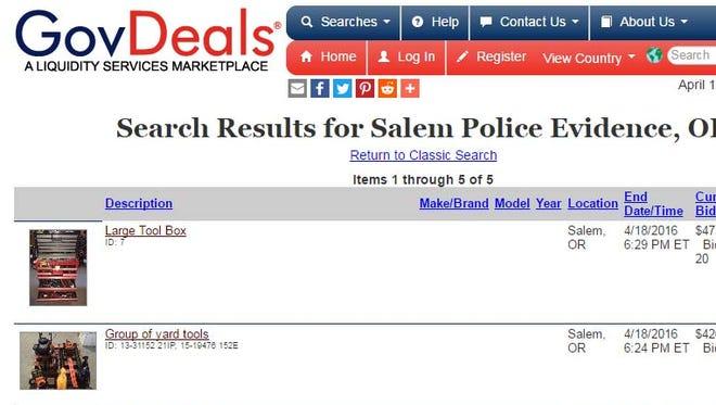 GovDeals webpage hosts Salem Police auctions.
