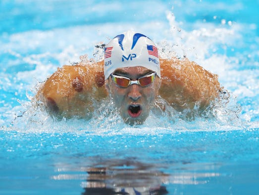 Michael Phelps (USA) in the men's 200m butterfly heats.
