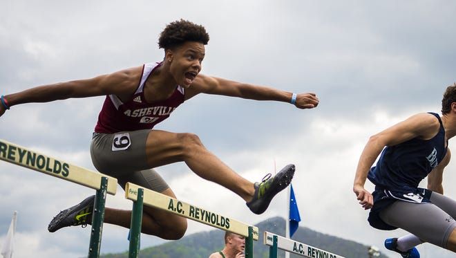 Athletes compete in the hurdles at Saturday's Blue Ridge Classic track meet.