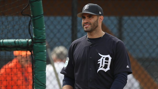 Tigers outfielder J.D. Martinez waits to take batting practice during the first full team workout in spring training on Feb. 18, 2017, at Publix Field at Joker Marchant Stadium in Lakeland, Fla.