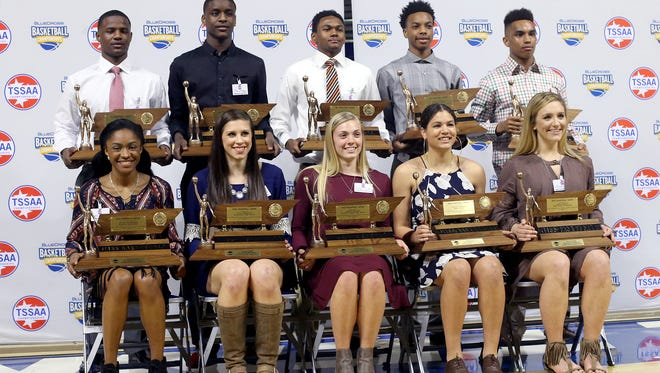 Winners of Mr and Miss Basketball for 2016.  (Front row, l-r) Crystal Dangerfield (Blackman), Kayla Marosites (Elizabethton), Lakelyn Bouldin (Van Buren County), Kaleigh Clemons (Baylor) and Micah Scheetz (Knox Webb). In the back row (l-r): Alex Lomax (Memphis East), Bo Hodges (Maplewood), Nick Hopkins (Fayetteville), Darius Garland (Brentwood Academy) and Chase Hayden (St. George's).