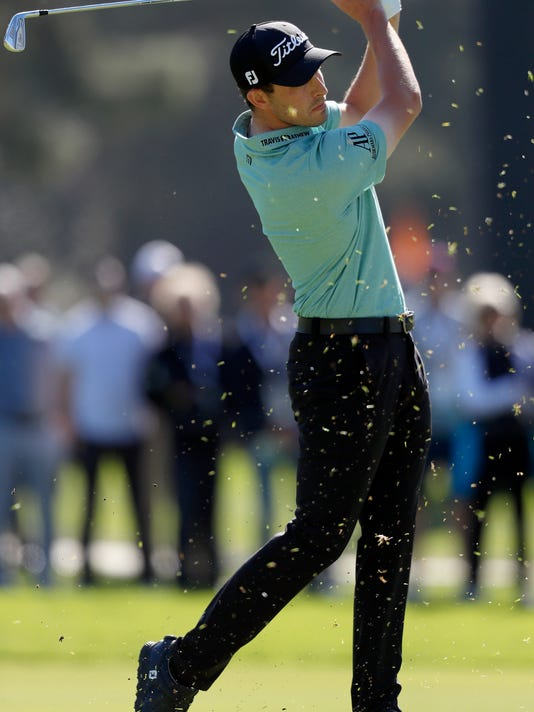 Patrick Cantlay hits his second shot on the second hole during the final round of the Genesis Open golf tournament at Riviera Country Club Sunday, Feb. 18, 2018, in the Pacific Palisades area of Los Angeles. (AP Photo/Ryan Kang)