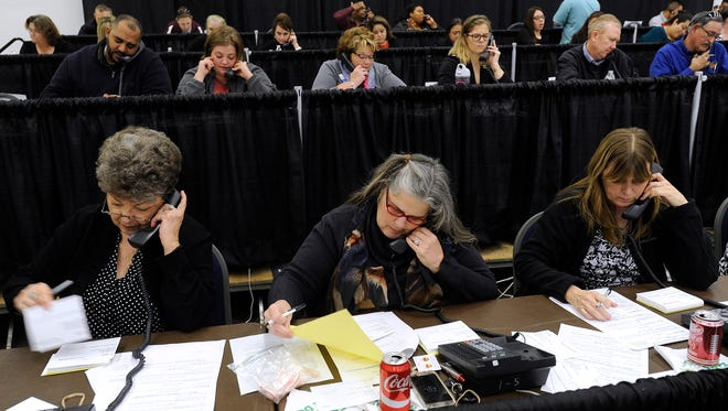Volunteers work the phones during the West Texas Rehabilitation Center's Rehab Phonathon on Wednesday, Jan. 18, 2017, at the Abilene Convention Center.