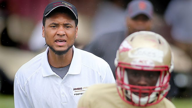 Senior star wide receiver Rashad Greene was one of many Florida State players who coached high school players during the Jimbo Fisher Football Camp this week.