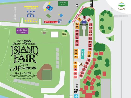 Map if the 30th annual Guam Micronesia Island Fair