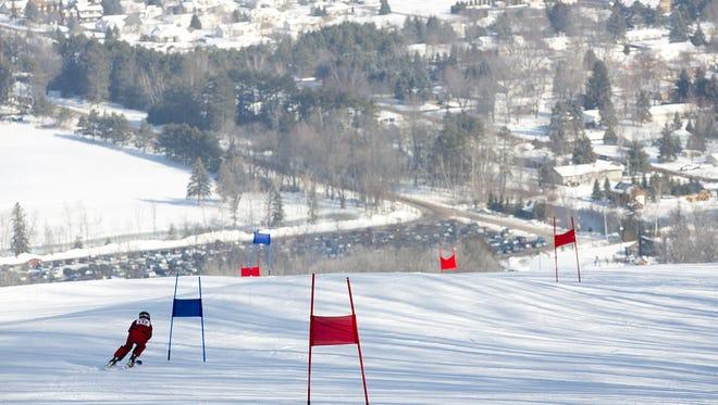 Anthony Selenske of Kronenwetter attempts a run during alpine skiing in the Badger State Games at Granite Peak in Wausau, Saturday, Jan. 23, 2016.