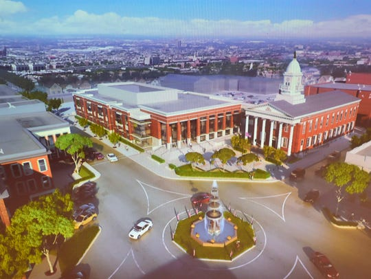 Computer illustrations of the proposed Franklin County Courthouse  project on North Main Street.