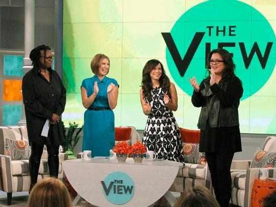 Co-hosts, from left, Whoopi Goldberg, Nicolle Wallace,