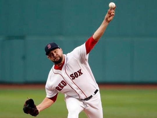 Boston Red Sox starting pitcher Brian Johnson (61)