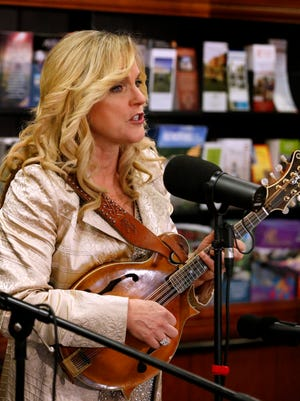 Rhonda Vincent, who will be given the Trailblazer Award this year, performs at the annual Uncle Dave Macon Days news conference Wednesday, March 28, 2018, at the Rutherford County Chamber of Commerce.
