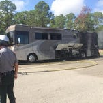 Collier County law enforcement and public safety crews respond to a vehicle fire on I-75