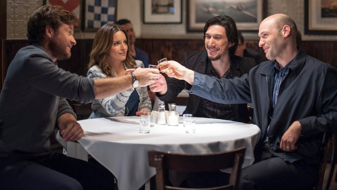 "Jason Bateman, Tina Fey, Adam Driver and Corey Stoll in ""This Is Where I Leave You."""