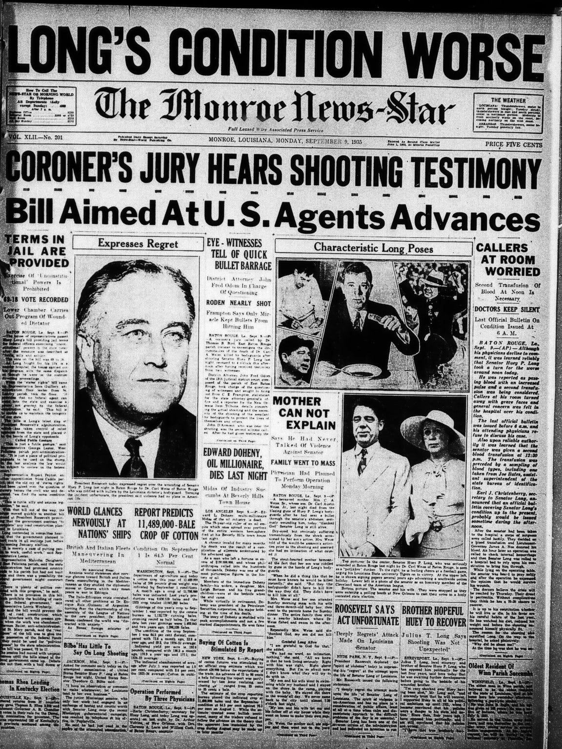 The assassination of Huey Long was a state and national news event.
