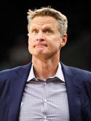 Golden State Warriors head coach Steve Kerr looks on in Game 3 of the first round of the 2018 NBA playoffs against the San Antonio Spurs.