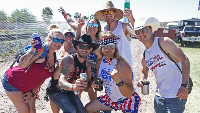Country music fans arrive at the campgrounds at Country Thunder in Florence, Ariz. on April 6, 2017.