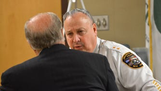 Englewood Cliffs Police Chief Michael Cioffi and his attorney Robert Galantucci before the start of the administrative on Tuesday, Feb. 21, 2017.
