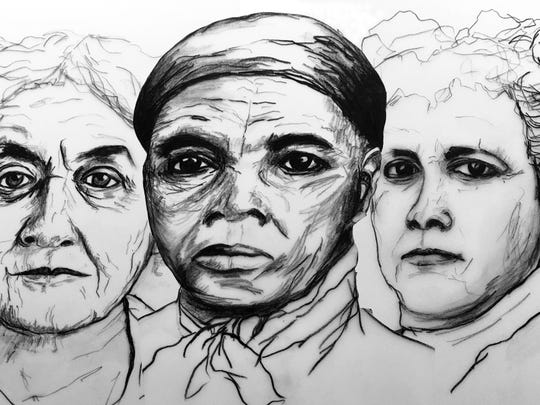 From left, Carrie Chapman Catt, Harriet Tubman and Mary Garrett Hay. Drawings of these and other notable New York suffragists by Christine Nobles Heller can be viewed at The History Center from Sept. 23 to Nov. 4.
