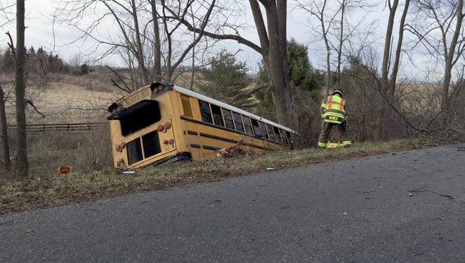 Augusta County bus 83 in a ditch after hitting a pothole on Long Meadow Road in Fishersville on Wednesday, Feb. 10, 2016.