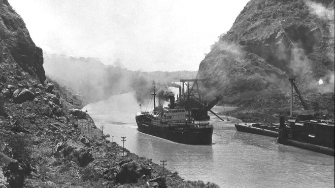 The SS Ancon was the first ship through the newly opened Panama Canal in 1914.