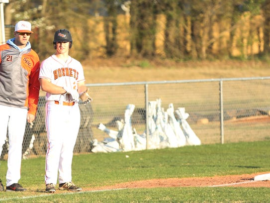 South Gibson's Levi Schlesinger (2) stands near third