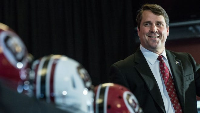 Will Muschamp was introduced as the 34th head football coach at the University of South Carolina
