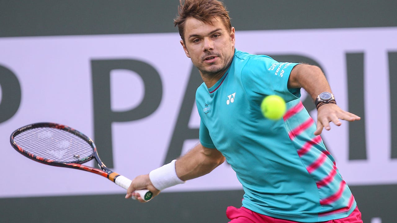 Stan Wawrinka hits during his win over Phillipp Kohlschreiber