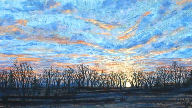 'Sunset at Cedar Ridge,' fiber wall art by Mary Ann Van Soest