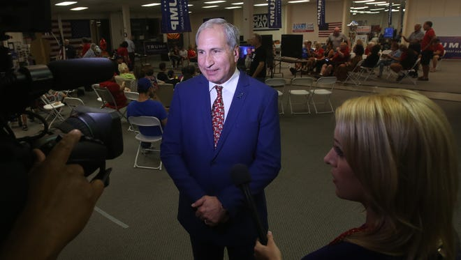Jeff Stone, congressional candidate speaks to the media after his loss to incumbent Congresman Raul Ruiz on November 8, 2016 at the East Valley Republican Headquarters.