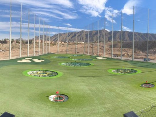 A view of the driving range at Topgolf El Paso, which