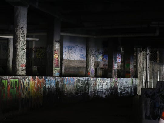 File photo: Graffiti in the Rochester subway.  The entrance on the east side of the Genesee River was closed off as construction began for a new development on the river.