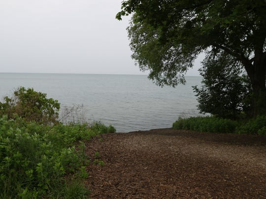 During the summer of 2017, this entrance to Durand-Eastman Beach abruptly ended into Lake Ontario.