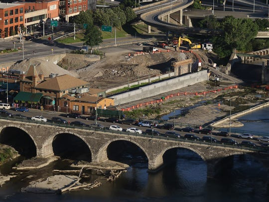 A view of the former subway area being demolished near