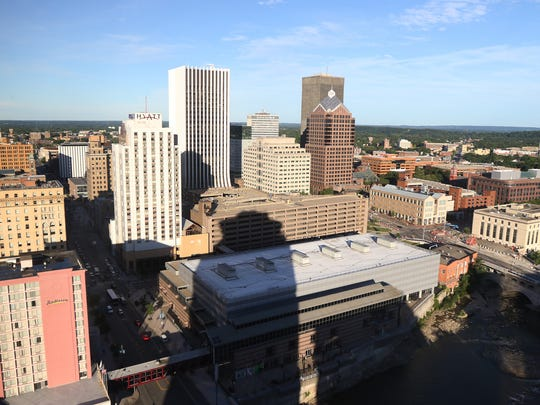 A view of downtown Rochester looking southeast from
