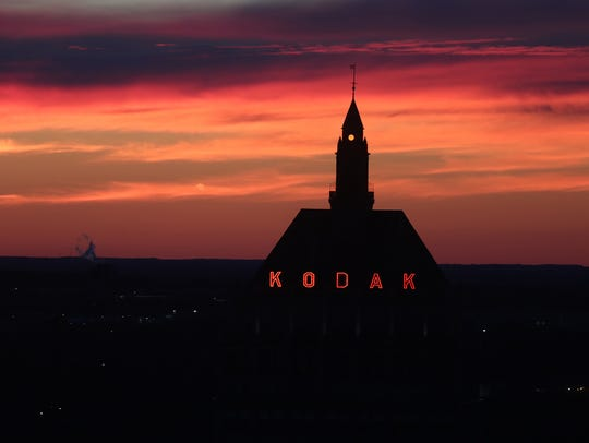 A view of Kodak headquarters during sunset from the