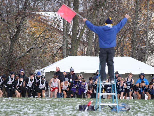 Runners get ready to compete in the Class C boys cross