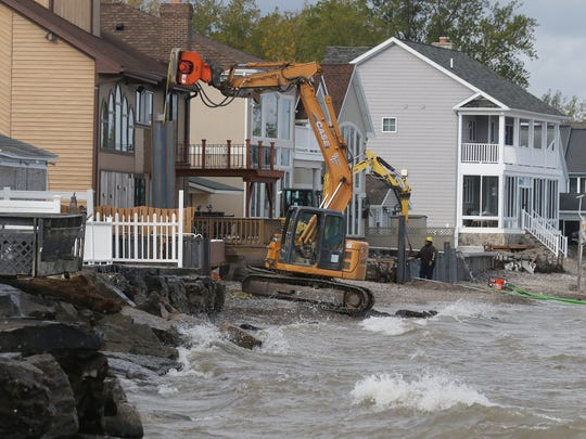 Several homes on Edgemere Drive in Greece are repairing their breakwall.