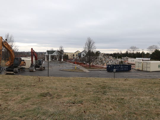 A pile of rubble is left behind after a Feb. 18, 2018