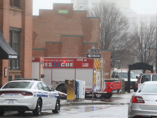 A woman was found dead in a RG&E building on Brown's Race.  The woman had been swept by the Genesee River into a grate that goes under the building and was discovered by RG&E workers.