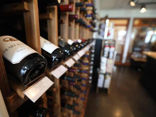 A selection of Finger Lakes wine are offered for sale