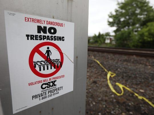 A CSX train struck a pedestrian crossing the tracks
