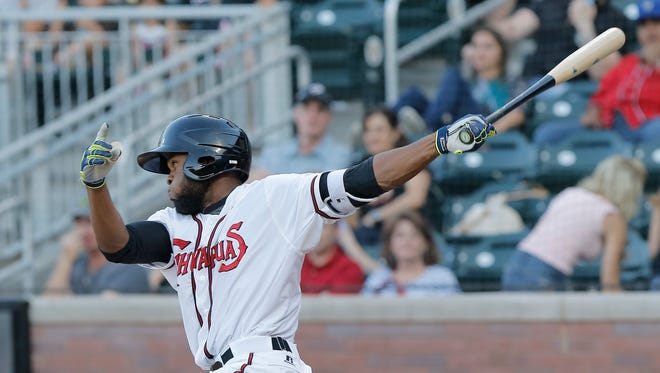 Manuel Margot swings for the fences recently against Las Vegas.