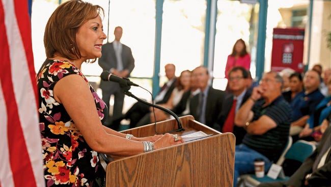 Gov. Susana Martinez speaks about her new energy policy on Sept. 15 2015 during an appearance at the Quality Center for Business at San Juan College in Farmington.