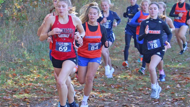 Coldwater's Legend Szafranski leads a pack of runners up the first hill at Saturday's pre-regional at Sturgis Middle School. Szafranski went on to win the race to qualify for the regional competition Saturday.