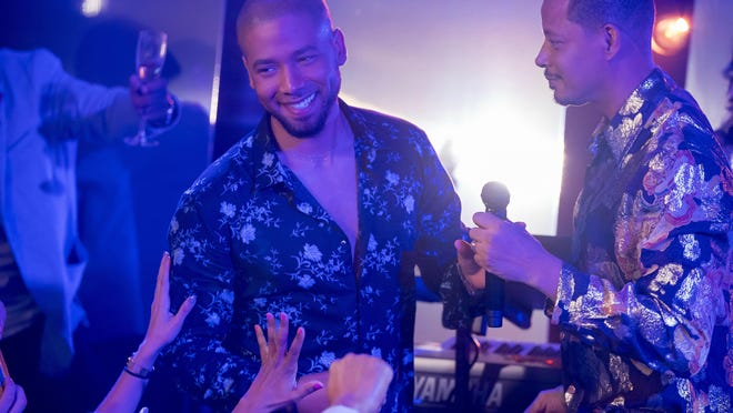 "This image released by Fox shows Jussie Smollett, left, and Terrence Howard in a scene from the ""The Depth of Grief"" episode of ""Empire,"" which originally aired on Oct. 31."