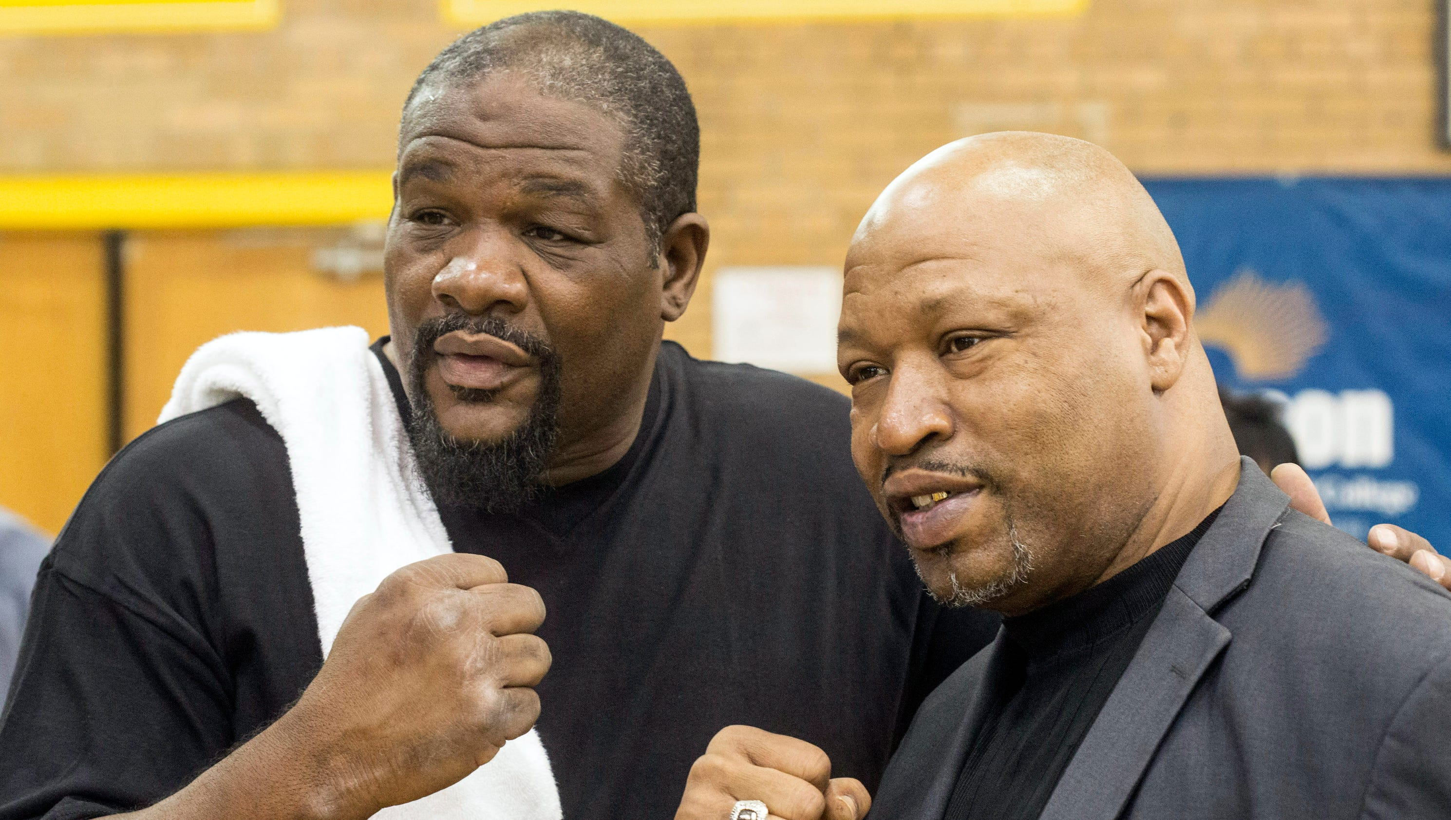 former champs riddick bowe  ray mercer visit students at central  ali u0026 39 s alma mater