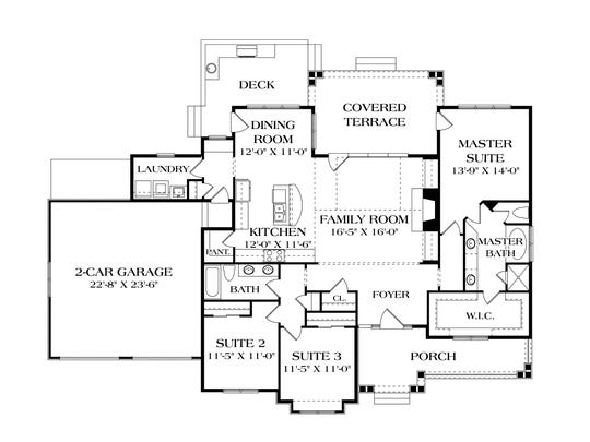 The split-bedroom layout guarantees privacy for the comfortable master suite.